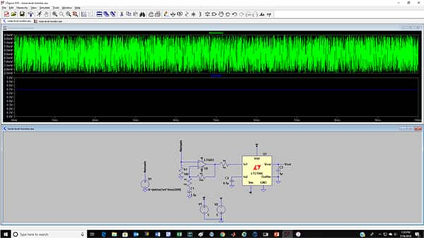 Image of LTSpice XVII simulation of a noise level monitor circuit