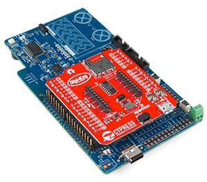 Image of PSoC Pioneer IoT add-on shield (red board) extends the capabilities of Cypress Pioneer boards